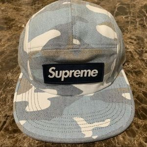 Supreme Washed Out Camo Camp Cap Hat Blue Camo